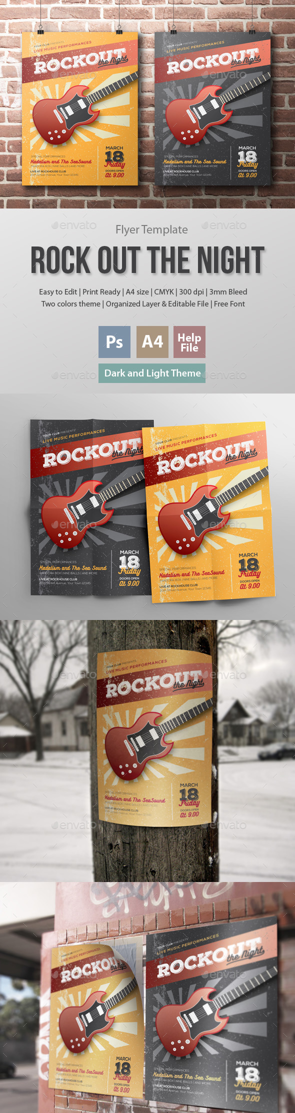 Rockout the Night Flyer Template - Clubs & Parties Events