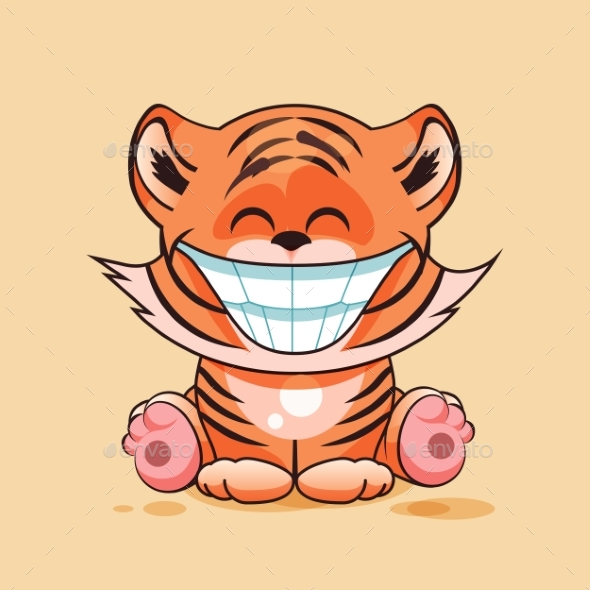 Tiger Cub with Huge Smile - Animals Characters