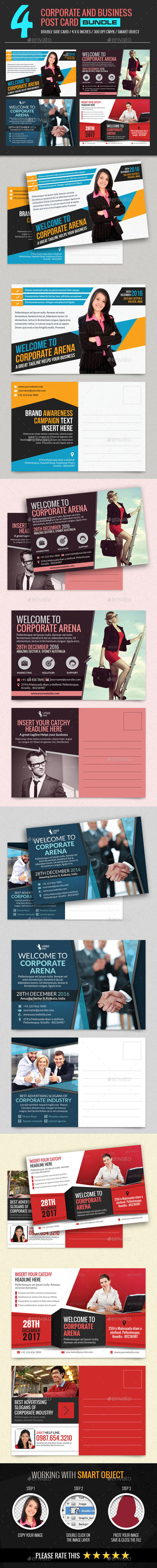 4 In 1 Corporate and Business Post Card Bundle - Certificates Stationery