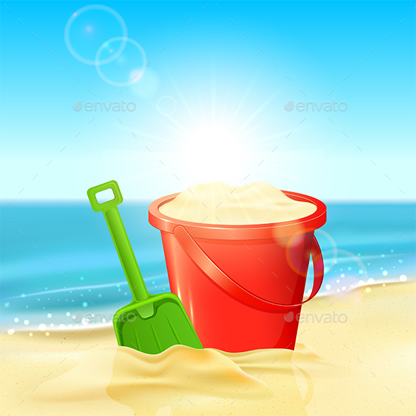 Bucket of Sand and Shovel on Beach - Man-made Objects Objects