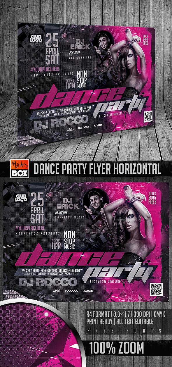 Dance Party Flyer Horizontal - Flyers Print Templates