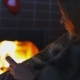 Girl Near The Fireplace With Her Smartphone - VideoHive Item for Sale
