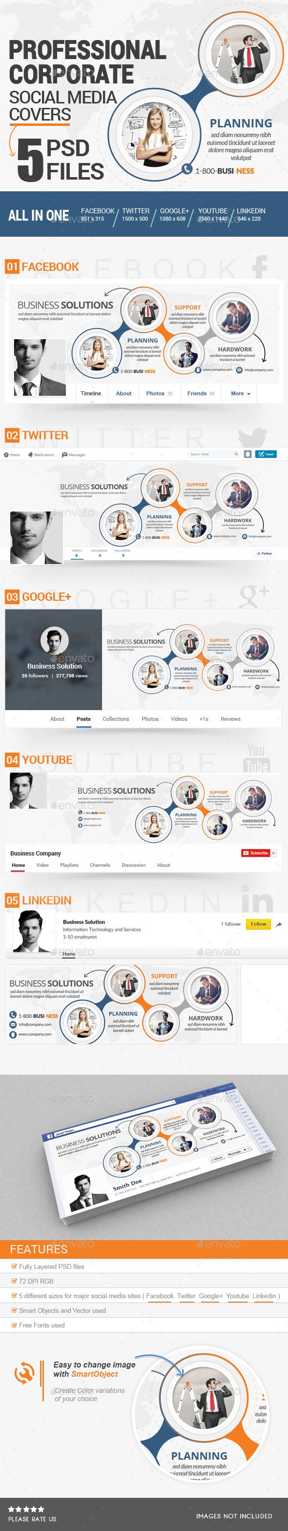 Corporate Social Media Covers Kit - Social Media Web Elements