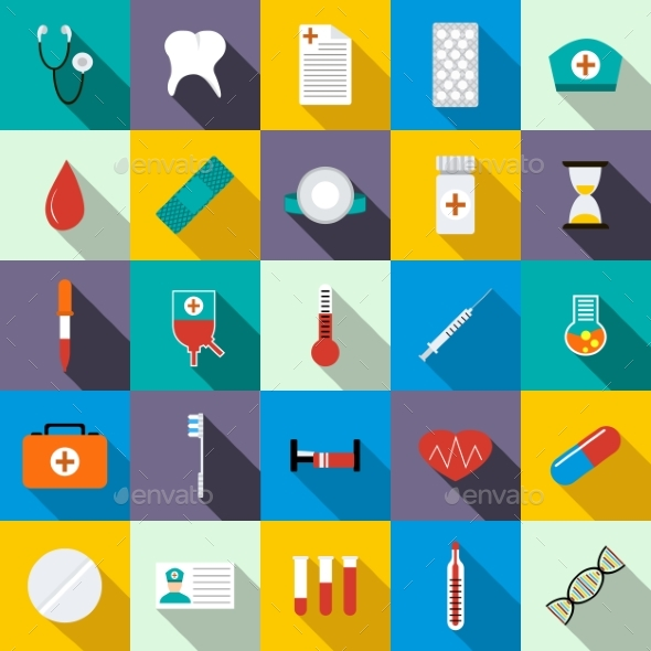 Medicine Equipment Icons Set, Flat Style - Miscellaneous Icons