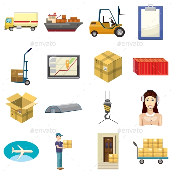 Logistics Icons Set, Cartoon Style - Miscellaneous Icons