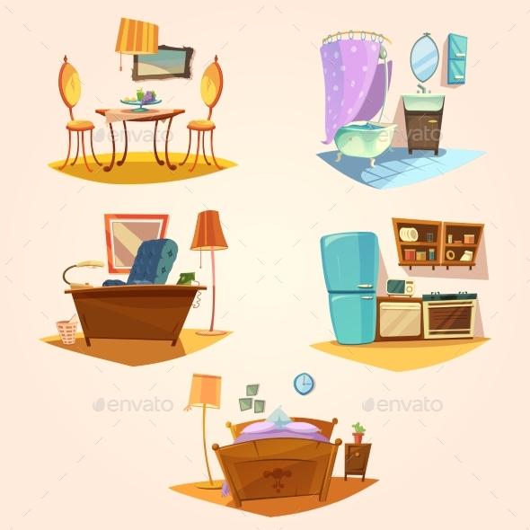 Interior Cartoon Retro Set - Decorative Symbols Decorative