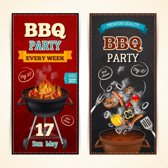 Barbecue Party Banners Set - Food Objects