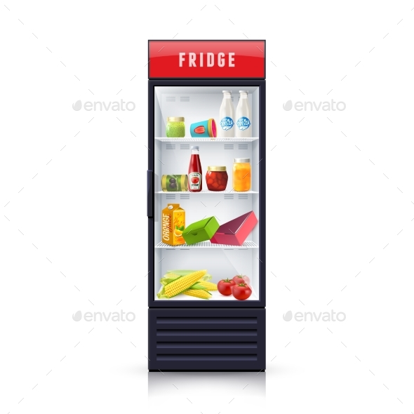 Food in Fridge Realistic Illustration Icon - Food Objects