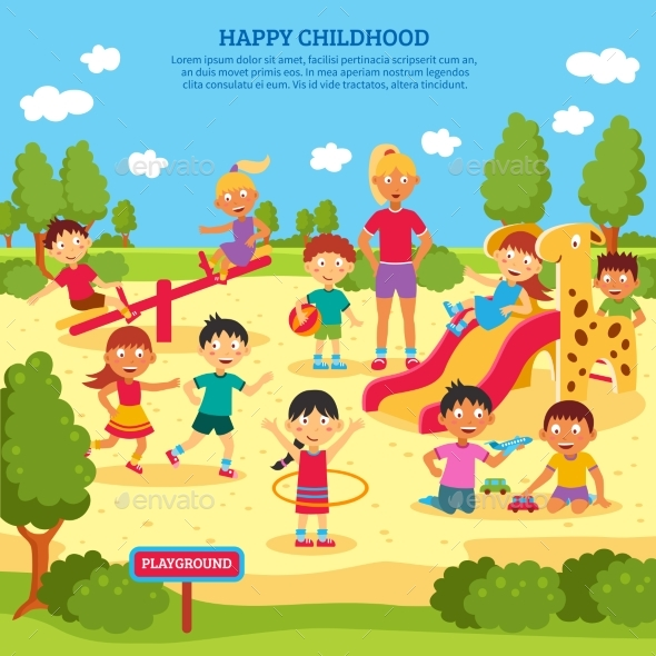 Kids Playing Poster - People Characters