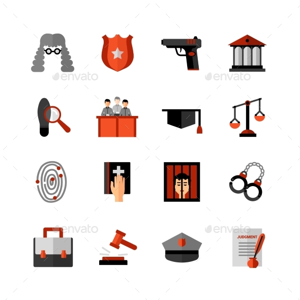 Legal Law Flat Icons Set  - Miscellaneous Icons