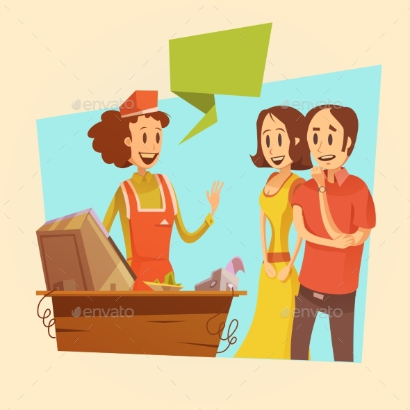 Saleswoman and Customers Retro Illustration  - Retail Commercial / Shopping