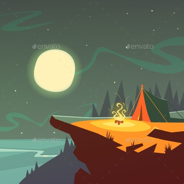 Hiking at Night Background  - Travel Conceptual