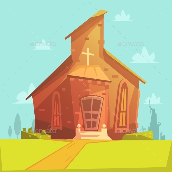 Church Cartoon Background - Buildings Objects