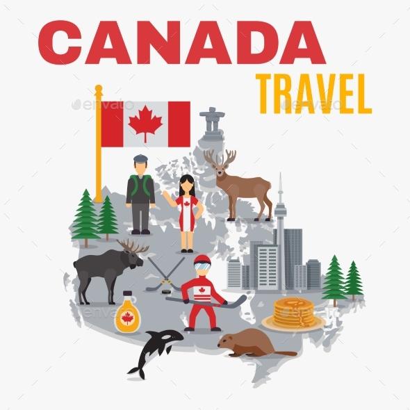 Decorative Map Canada Poster  - Travel Conceptual
