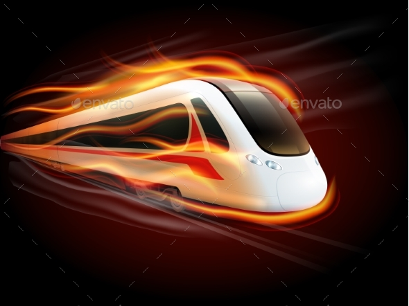 Speed Train Fire Black Background Design  - Travel Conceptual