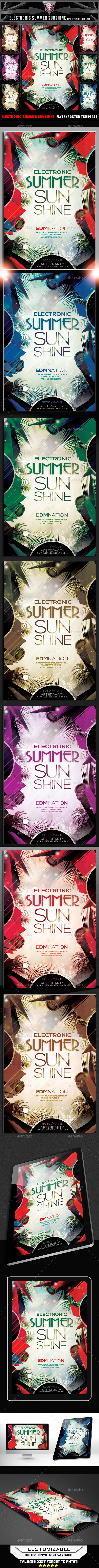 Electronic Summer Sunshine Flyer Template - Flyers Print Templates