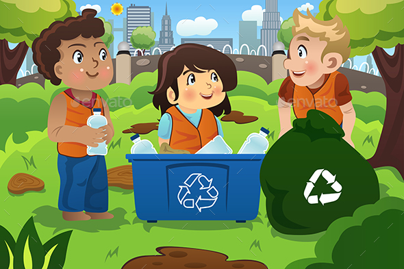 Kids Recycles Bottles - People Characters