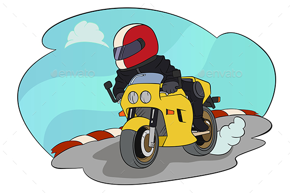 Biker Riding on His Motorbike - People Characters