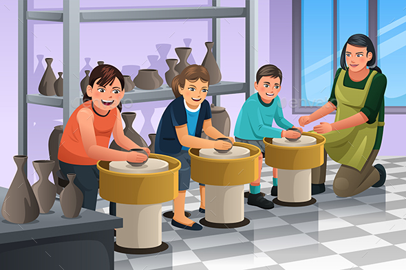 Kids in Pottery Class - People Characters