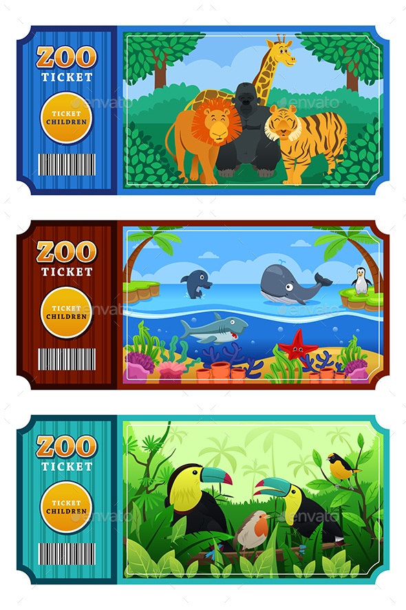 Zoo Ticket Design - Animals Characters