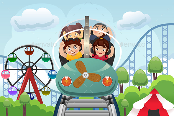 Children Playing  in a Amusement Park - People Characters
