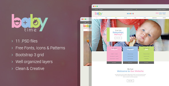 BabyTime – Babysitter, Nurse and Preschool Education PSD Template