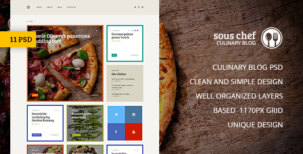 Sous Chef — Unique Clean PSD Template for Culinary Blog - Food Retail