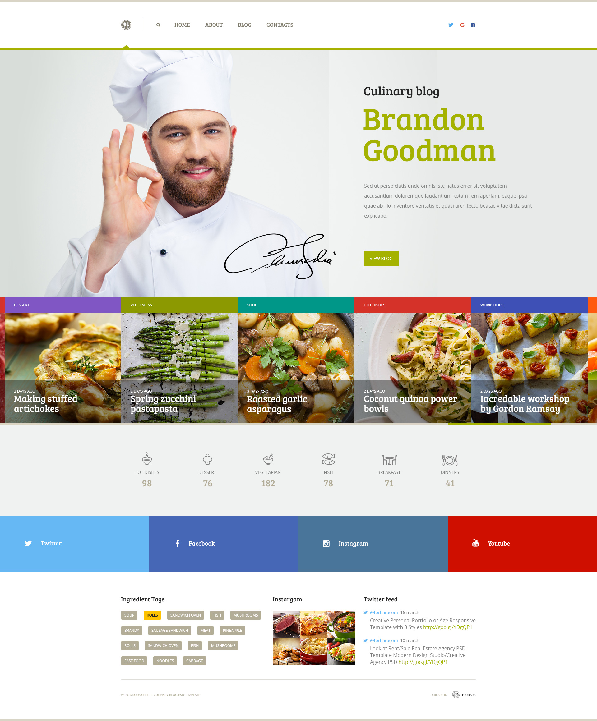 Sous Chef — Unique Clean PSD Template for Culinary Blog by torbara