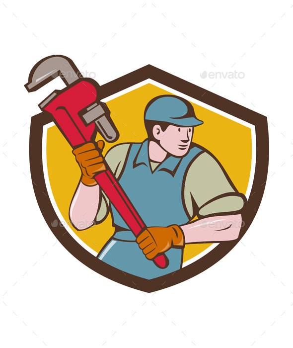 Plumber Running Monkey Wrench Crest Cartoon - People Characters