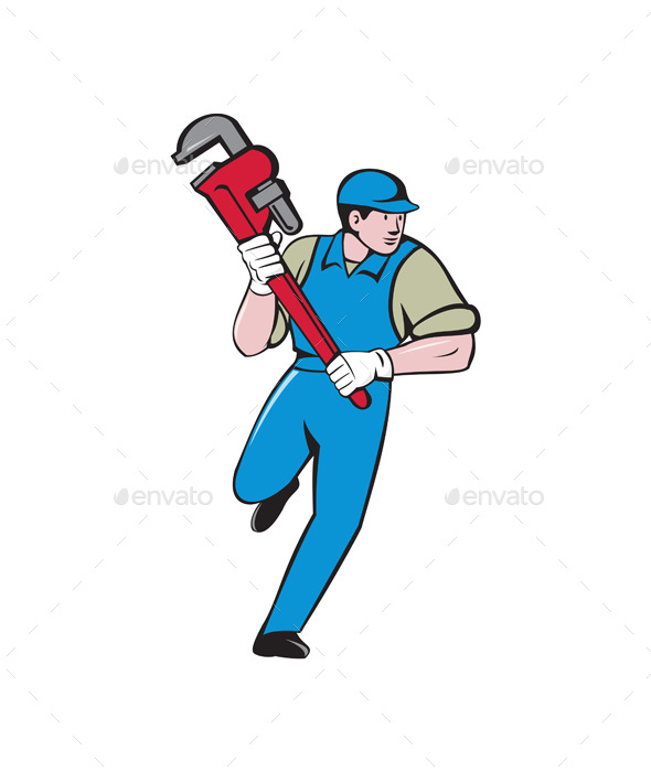 Plumber Running Monkey Wrench Cartoon - People Characters