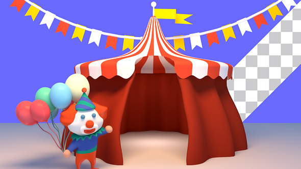 Play preview video & 3D Cartoon Clown And Circus Tent by tykcartoon | VideoHive