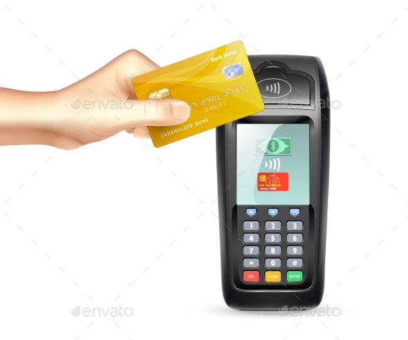 Payment Terminal With Credit Card - Man-made Objects Objects