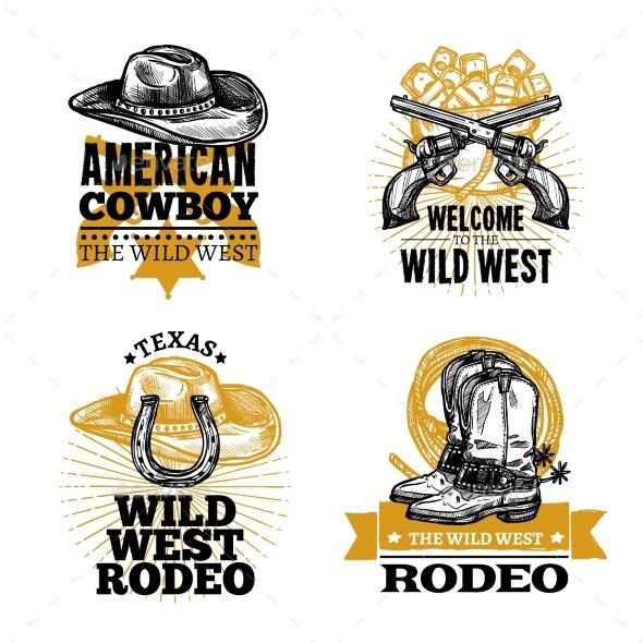 Cowboy Retro Emblems - Decorative Symbols Decorative