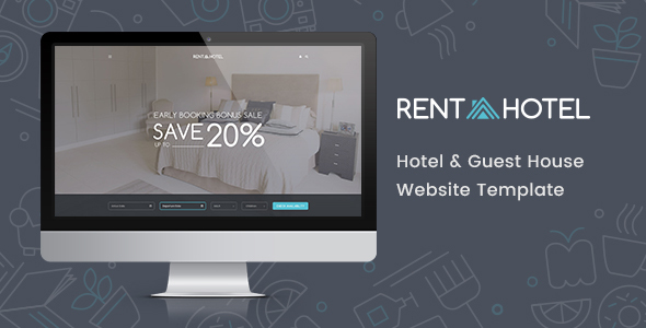 Rent a Hotel - Hostel & Guest House Booking Website PSD Template - Retail PSD Templates