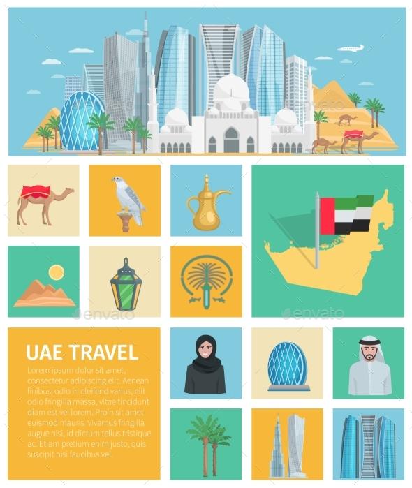United Arab Emirates Decorative Icons Set - Travel Conceptual