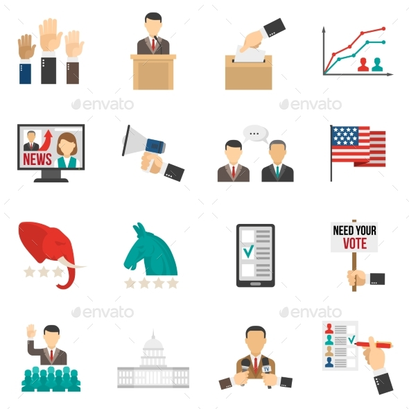 Election Color Icons - Business Icons