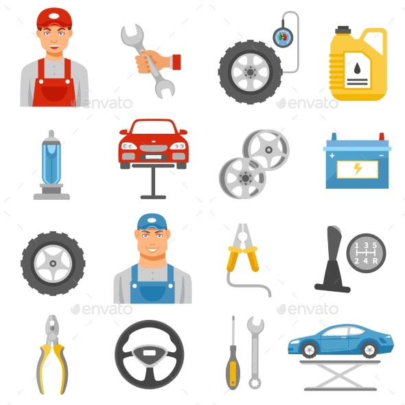 Car Repair Service Flat Icons Set  - Objects Icons