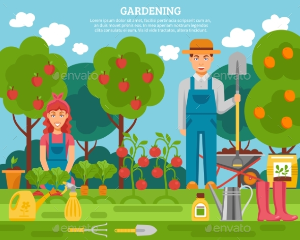 Farmer Family Concept Colorful Poster - Miscellaneous Conceptual