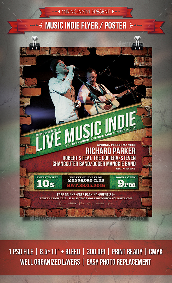 Music Indie Flyer / Poster - Events Flyers