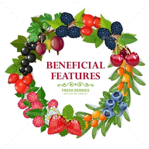 Fresh Natural Berries Wreath Decorative Frame  - Borders Decorative