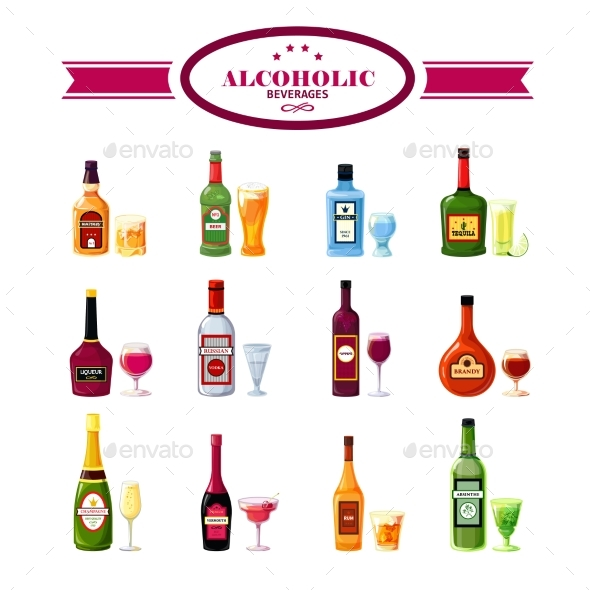Alcoholic Beverages Drinks Flat Icons Set  - Food Objects