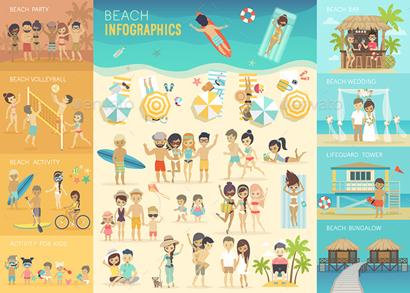 Beach Infographic Set - Travel Conceptual