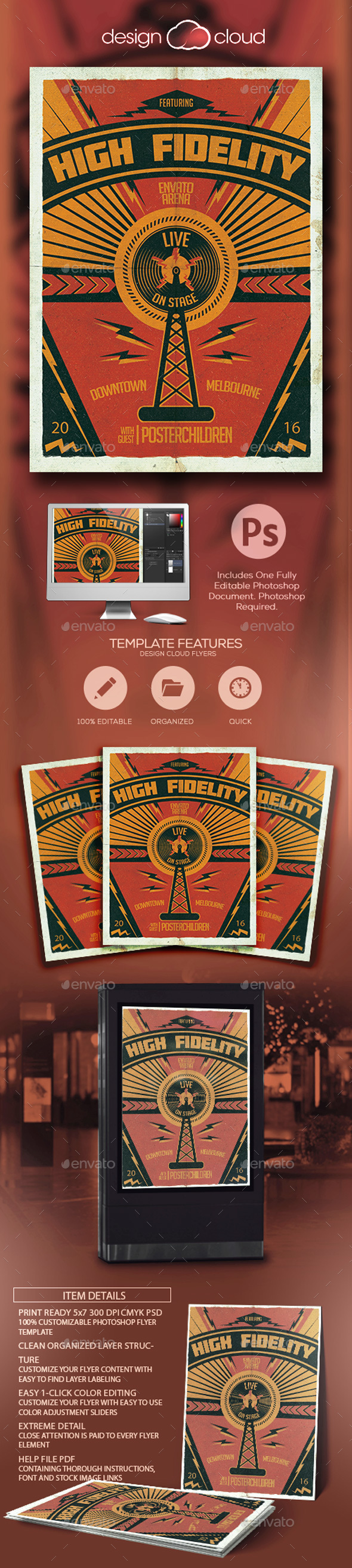 High Fidelity Poster Flyer Template - Concerts Events