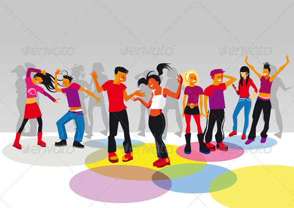Teenagers Dancing  - People Characters