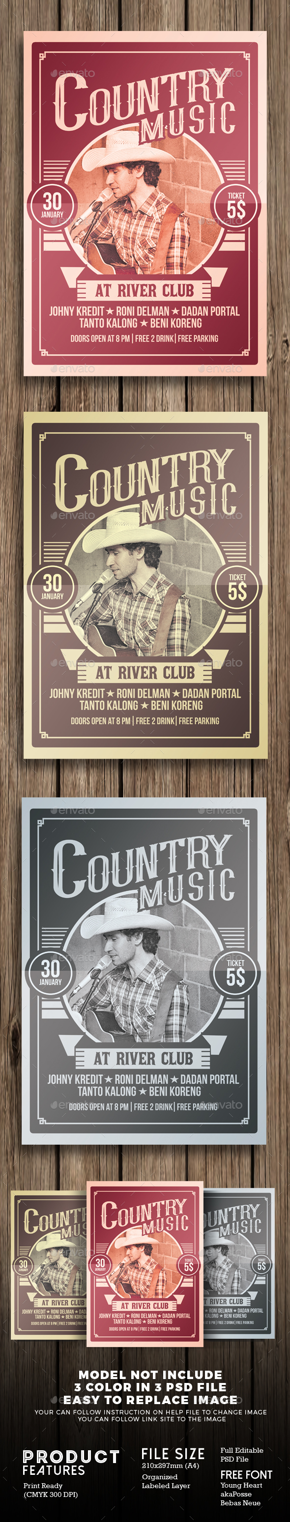 Country Music Poster Flyer - Concerts Events