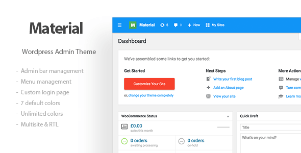 Materil - Wordpress Material Design Admin Theme - CodeCanyon Item for Sale