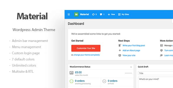 Materil - Wordpress Material Design Admin Theme - CodeCanyon Item for Sale