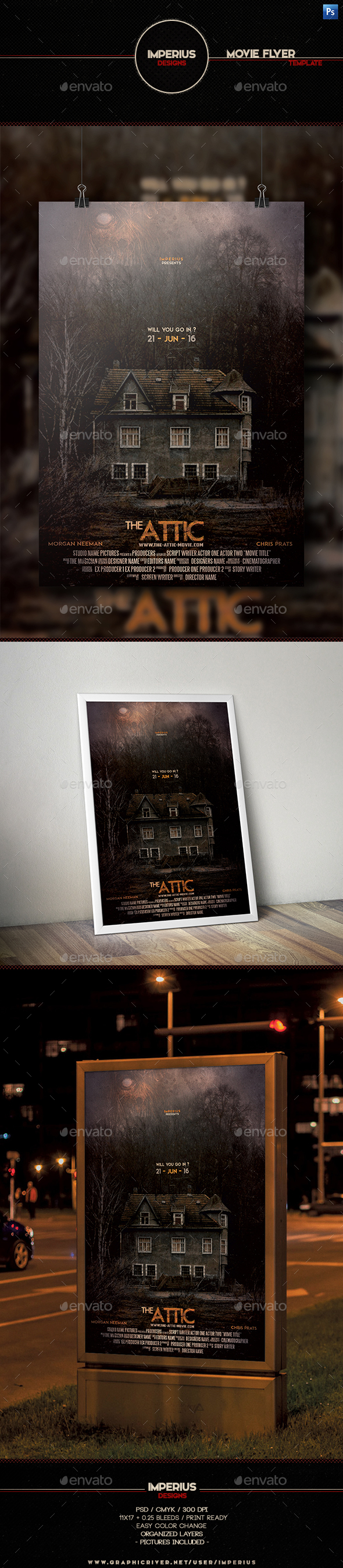 The Attic Movie Flyer - Miscellaneous Print Templates