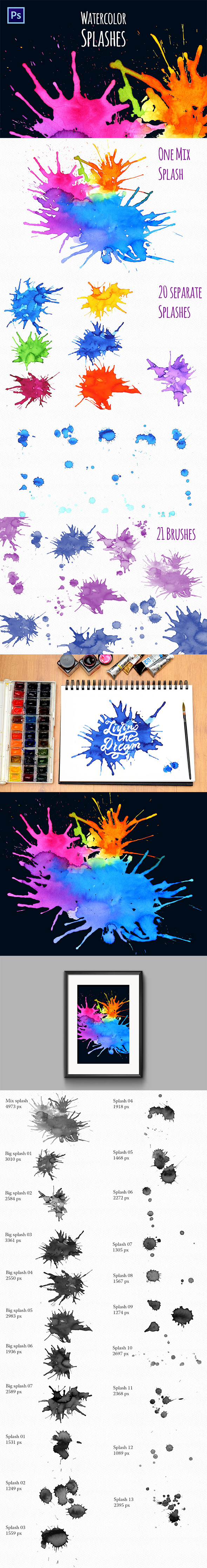 Watercolor Splash Brushes - Texture Brushes