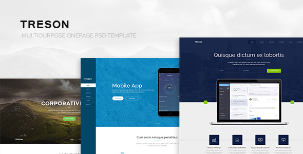 Treson - One Page Agency, App, Startup PSD Template - Business Corporate